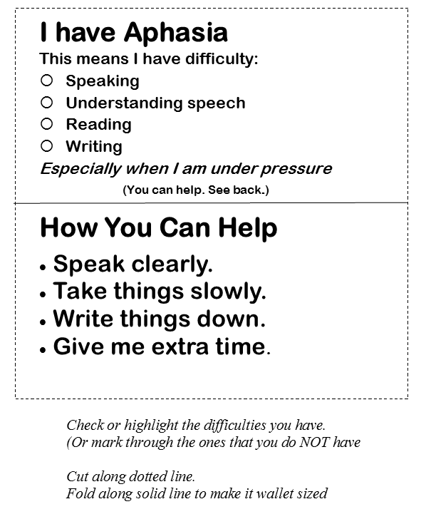 How to facilitate communication for someone with Aphasia – Aphasia Worksheets