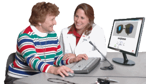 Speech therapist working with patient on subscription apps
